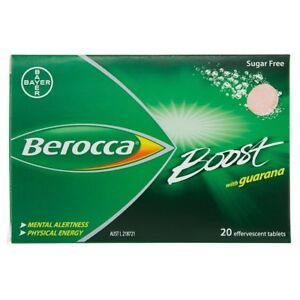 Berocca 20 Effervescent Tablets Sugar Free Boost WITH GUARANA