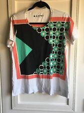 Marni Women's Geometric Graphic T-Shirt Short Sleeve Size 44 Medium 100% Cotton