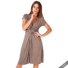 Womens Polka Dot Print Twist Knot Front V Neck Mini Swing Dress Party Summer Mocha (cap Sleeve) 14