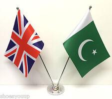 Union Jack GB & Pakistan Friendship Flags Chrome & Satin Table Desk Flag Set