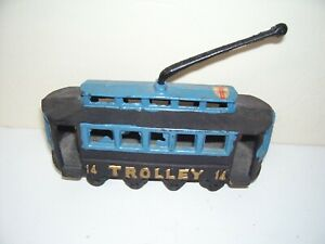 Vintage Metal Old time Trolley 14 Blue Black Toy Good Condition