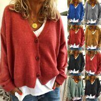 Women Chunky Knitted Long Sleeve Cardigan Jumper Sweater Winter Coat Jacket Tops
