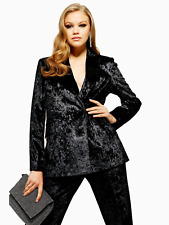 Topshop Bonded Velvet Suit - Black trousers size 12 and Blazer size 14