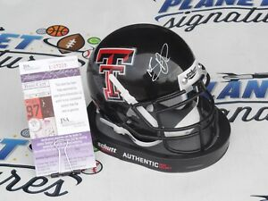 Nic Shimonek signed Texas Tech TTU Red Raiders mini helmet JSA COA