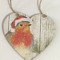 Handmade Decoupaged large wooden hanging heart Robin Christmas decoration