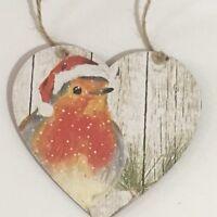 Handmade Decoupaged large wooden hanging heart Robin Christmas decoration