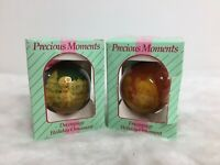 Lot 2- Precious Moments Enesco Collection Vintage 90s 1994 Christmas Ornament