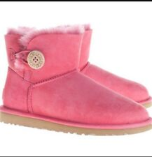 WOMENS UGG AUSTRALIA PINK BAILEY BUTTON Half- BOOTS SIZE 8