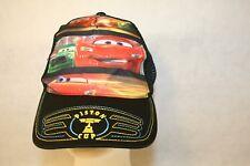 Disney Pixar Piston Cup Lightning McQueen Child Black Mesh Adjustable Cap Hat