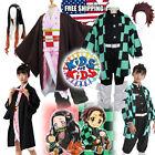 Kid's Demon Slayer Kamado Nezuko and Tanjiro Cosplay Costume Suit Cape Kimono