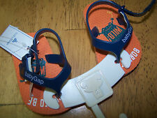 Nwt Baby Gap Orange and Navy Blue Flip Flop Sandals with Heel Strap 0-3 mo baby
