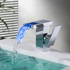 LED 3 Color Bathroom Vanity Sink Waterfall Faucet Wash Basin Hot/Cold Mixer Tap