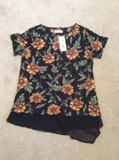 BNWT BLACK PER UNA MARKS AND SPENCER COTTON  BLEND FLORAL PRINT T SHIRT SIZE 10