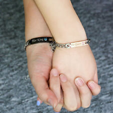 DIY Her King His Queen Couple Bracelets Stainless Steel Couples Bracelet Chain