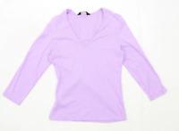 Dorothy Perkins Womens Size 12 Textured Cotton Purple T-Shirt (Regular)