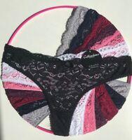 3,5 Pack Classic Women Ladies Lace Thongs Cotton Soft Panties Black-Purple tng0