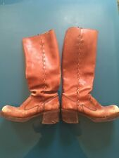 Vintage Tall Leather Women's Boots Riding Stacked Heel Boho Size 7.5