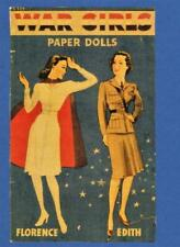 Vintage Uncut 1943 War Girls Paper Dolls~#1 Reproduction~Extremely Rare/Scarce!