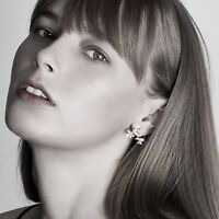 18k white gold gf made with SWAROVSKI crystal stud snowflake earrings Ear Jacket