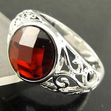 FSA513 GENUINE REAL 925 STERLING SILVER S/F SOLID RUBY ANTIQUE DESIGN RING US7