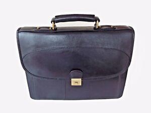 """Vintage Black Leather Briefcase Laptop Bag Large Expanding Document Holder 13"""""""
