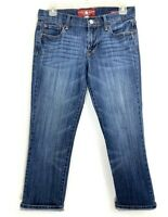Lucky Brand Womens Jeans Sweet N Crop Capri Dark Blue Distressed Denim Size 4 27