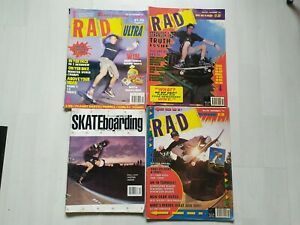 4x VINTAGE SKATEBOARDING MAGAZINES RAD & TRANSWORLD RARE MAGS FROM 80/90'S LOOK!