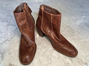 Matisse Brown Snakeskin Block Heel Ankle Boot Shoes Size/Fit US 9 AU 9 EU 40