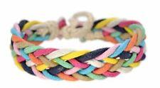 Rainbow Handmade Wrap Bracelet Vintage Boho Design Cord Woven Adjustable Ankle