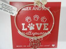 Alex and Ani Love is All You Need Bangle Bracelet Shiny Silver New Tag Box Card