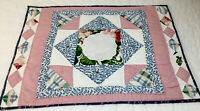 Patchwork Quilt Wall Hanging, Squares, Triangles, Floral Calicos, Blue, Pink