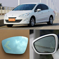 Rearview Mirror Blue Glasses LED Turn Signal with Power Heating For Peugeot 408