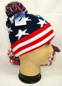 Lot of 12 USA American Flag Boggin Knit Pom Beanies Winter Hat Toboggin Cap A-10