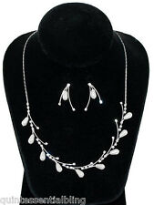 SP Swarovski Elements White Pearl Crystal Bridal Single Vine Necklace Set