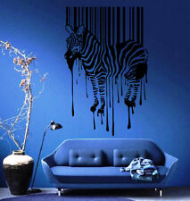 Zebra Silhouette with Smudges Bar code Decor Wall mural vinyl Decal sticker M307