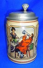 Antique German Lidded Beer Stein Tin Top Toast the first Mug...  #XX