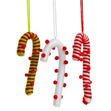 3 Hanging Fabric Candy Cane Christmas Tree Decorations Ornaments
