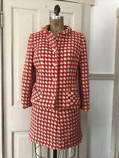 New listing Vintage 1960s Ladybug Wool Red White Suit Set Blazer Skirt The Villager Size 13
