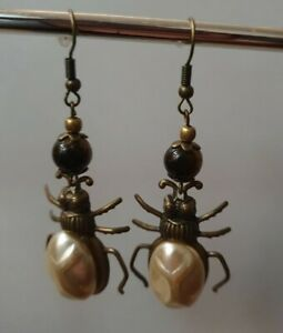 Tiger Eye Beatle Earrings Stone Copper Spider Bug Drop Dangle Stunning Unique
