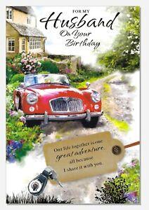 "Husband Birthday Card - Loving Verse Sport Car Mens Male -  LARGE 9""x6"""