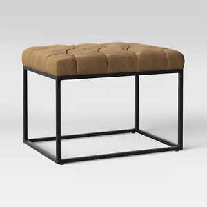 Trubeck Tufted Metal Base Ottoman Faux Brown Leather- FREE SHIPPING