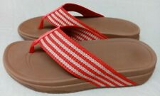 FITFLOP SURFA SIZE 7/41 RED STRIPED FABRIC FLOPS WORN TWICE FREE P&P
