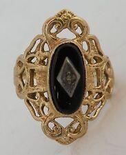 Antique Victorian black Onyx ornate 10k solid Yellow Gold Ring, unique, fine