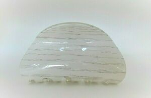 Glossy white washed wood effect hair claw clip