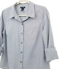 GAP Boyfriend Fit Coupe Button down Shirt M Dots design Blue & White Career Wear