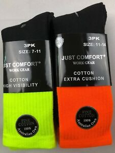 6 Pairs Hi Vis Safety Boot Cushioned Cotton Work Socks Extra Thick & Breathable