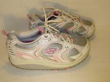 Skechers Toning Shape Up Walking Shoes-Women's Size 9-White/Pink