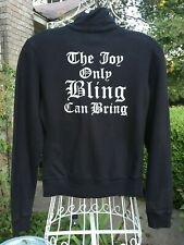 """NWT JUICY COUTURE BLACK """"THE JOY ONLY THE BLING CAN BRING"""" HOODIE   SZ S   $118"""