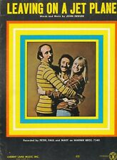 Leaving On A Jet Plane - Peter, Paul and Mary - 1969 US Sheet Music