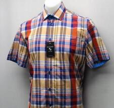 New Mens SMALL Mondago Milano short sleeve plaid casual cotton sport shirt